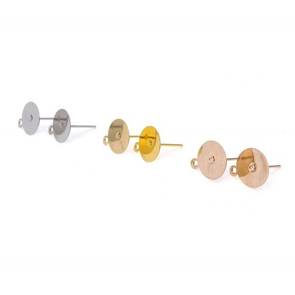 耳環配件-圓片掛孔耳釘