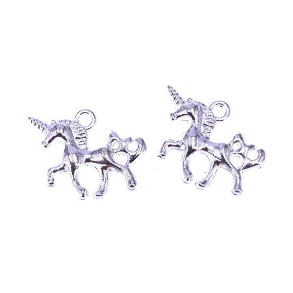 金屬掛飾首飾配件-銀色獨角獸