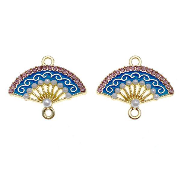 中國古典鑲珍珠扇合金DIY首飾配件
