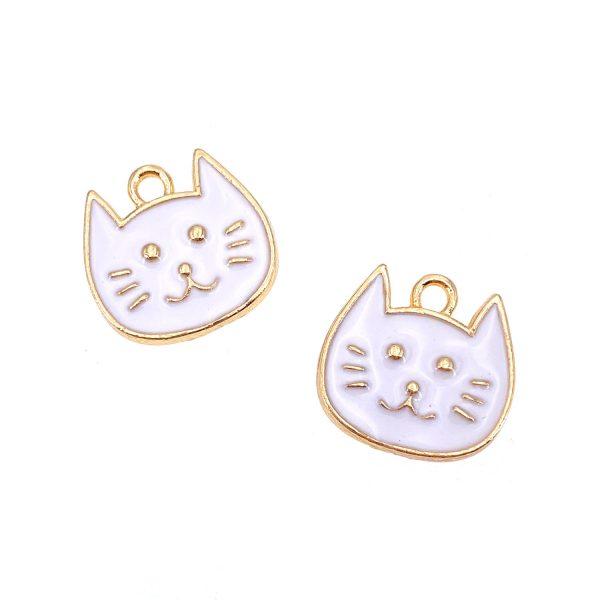 白色貓貓頭合金DIY首飾配件