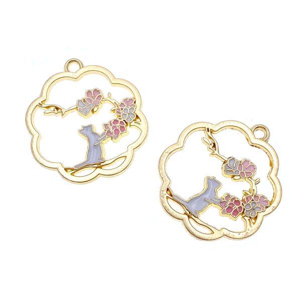 賞花的貓花形框合金DIY掛飾