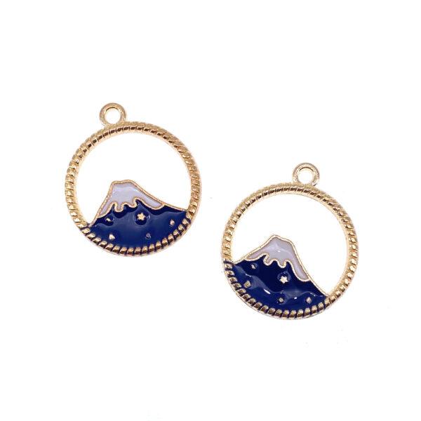 圓框富士山合金首飾配件