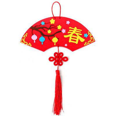 新年不織布春字扇形掛飾DIY材料包
