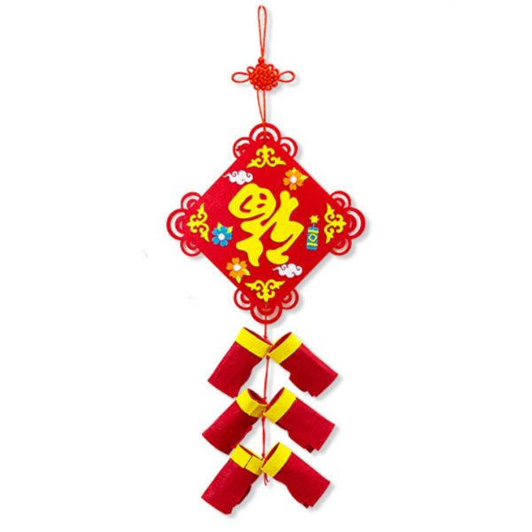 新年不織布福炮仗掛飾DIY材料