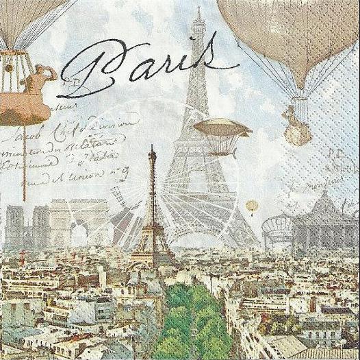Decoupage蝶古巴特紙巾-巴黎風景