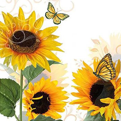 Decoupage蝶古巴特餐巾-3朵太陽花
