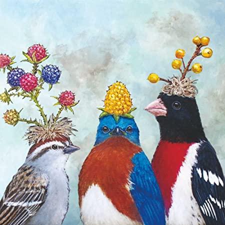 Decoupage蝶古巴特餐巾-3隻小鳥