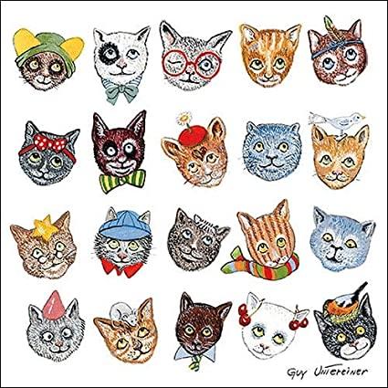 Decoupage蝶古巴特餐巾-20款貓貓頭造型