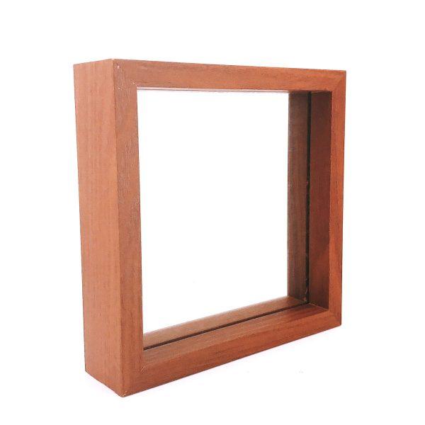 胡桃色玻璃正方形立體相架