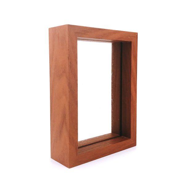 胡桃色玻璃長方形立體相架