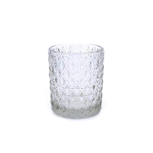 浮雕花紋玻璃杯燭台2