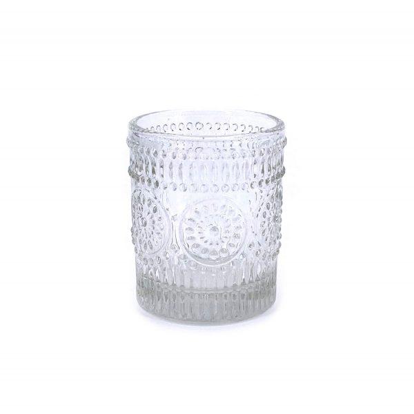 浮雕花紋玻璃杯燭台1