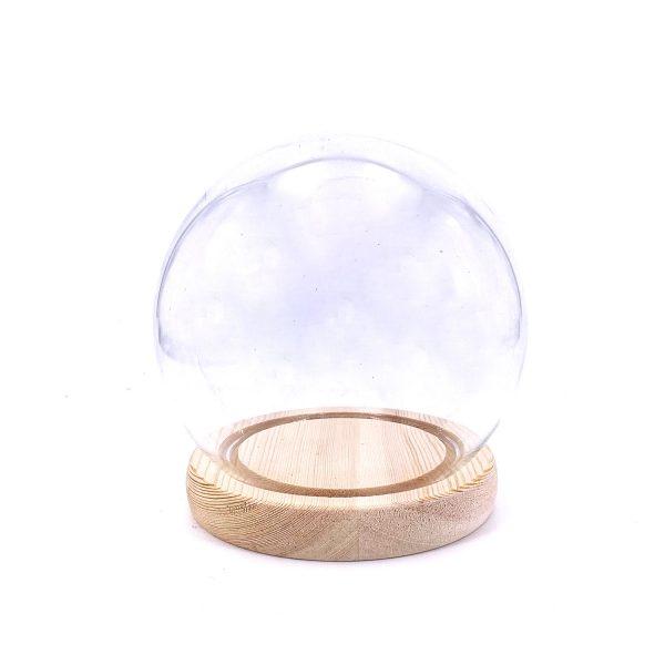保鮮花永生花圓球玻璃罩-木紋底
