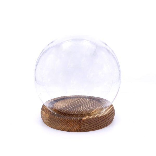 保鮮花永生花圓球玻璃罩-仿古木底