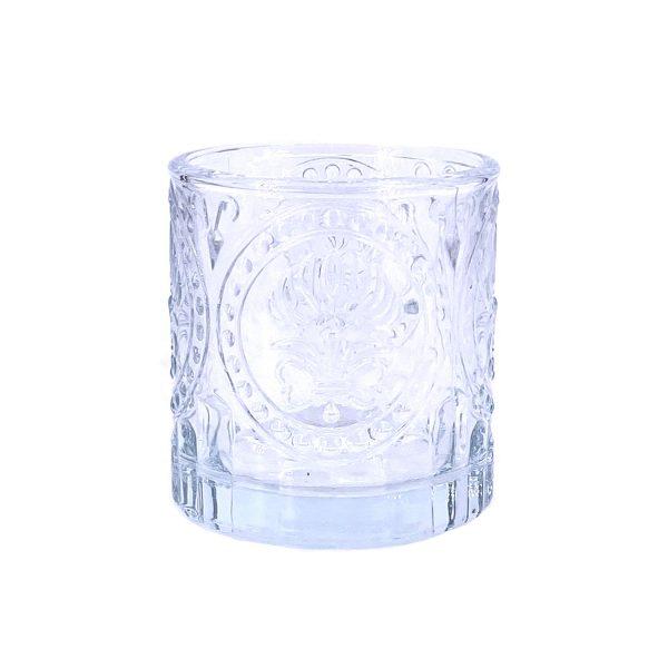 北歐浮雕玻璃蠟燭杯