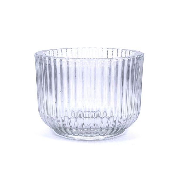 直紋闊口加厚玻璃蠟燭杯