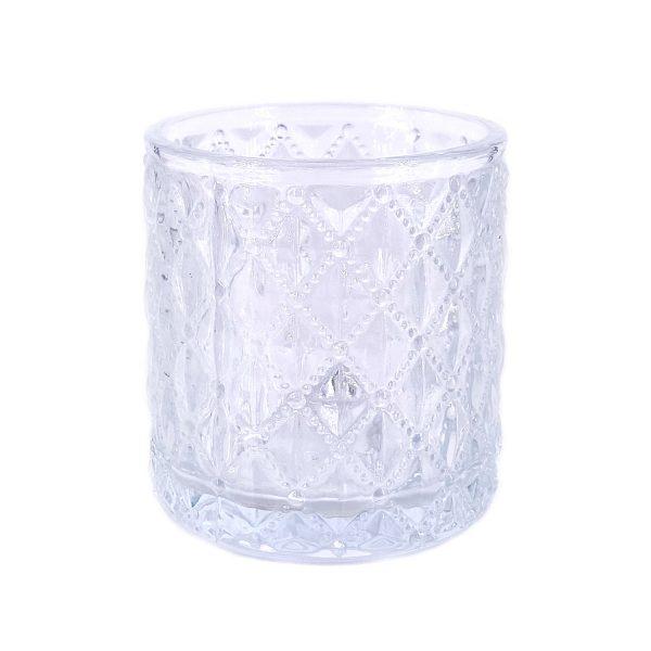 北歐浮雕波點菱形玻璃蠟燭杯