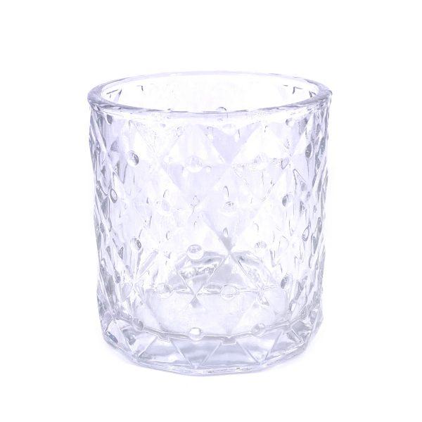 北歐浮雕花紋菱形玻璃蠟燭杯