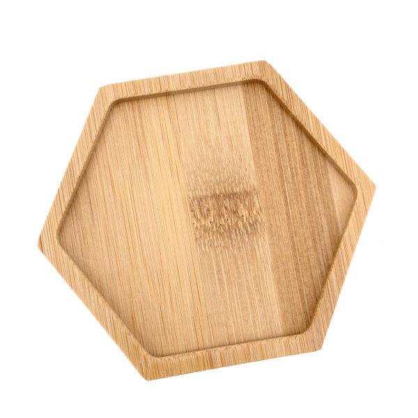 馬賽克六角形竹木杯墊