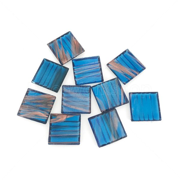 深藍色透明金線馬賽克20X20MM