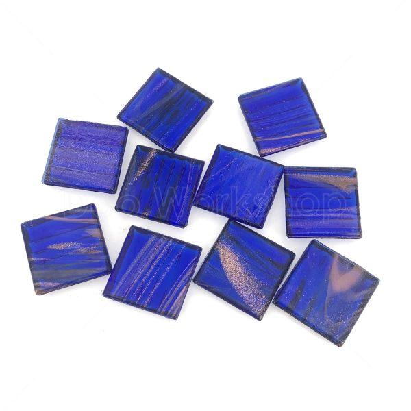 寶藍色透明金線馬賽克20X20MM