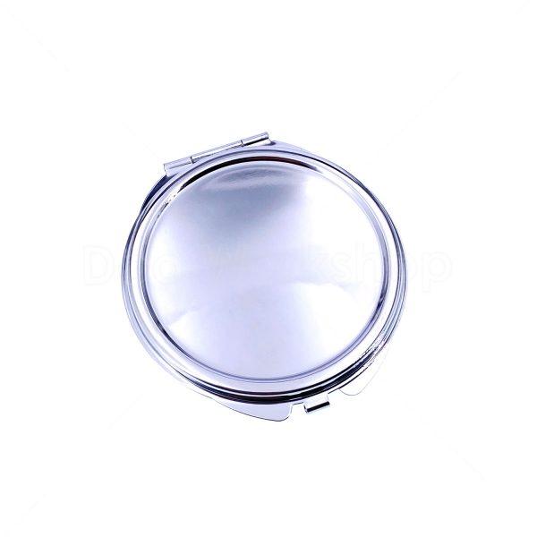 銀色玫瑰花紋底單面金屬化妝鏡
