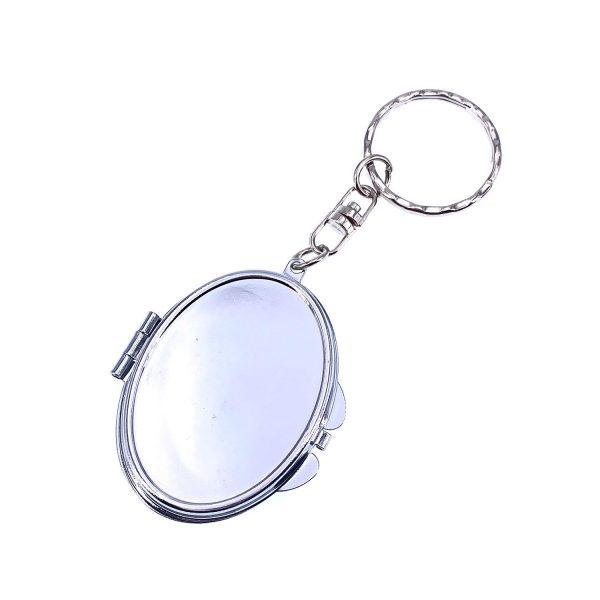 橢圓雙面摺叠小鏡子鎖匙扣