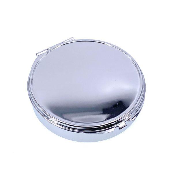 4格收納圓形鏡盒-銀色
