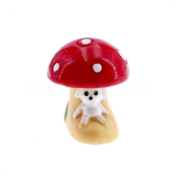 紅色蘑菇屋樹脂裝飾1