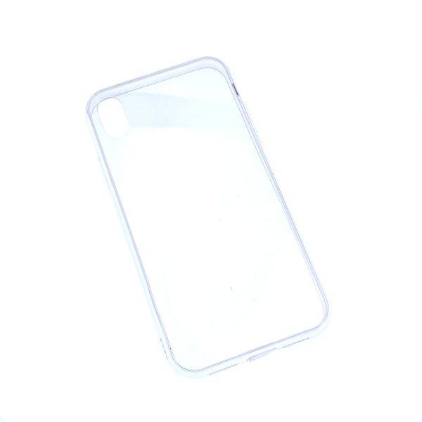 iPhone XR透明硬底軟邊凹槽滴膠電話殼