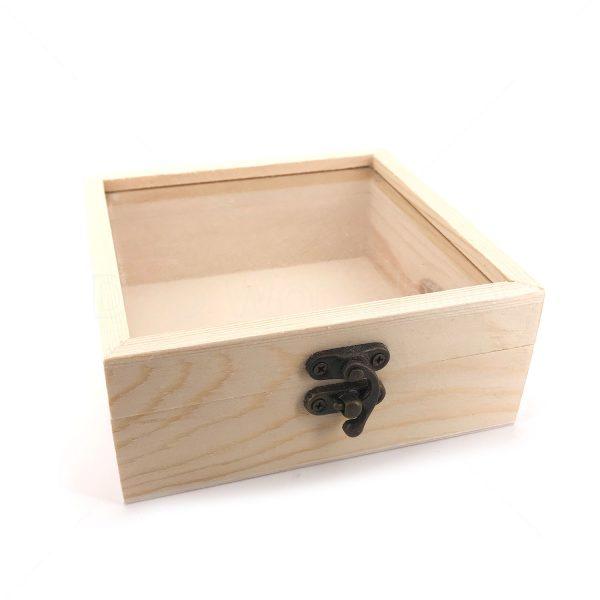 正方形幼邊玻璃木盒12X12X5CM