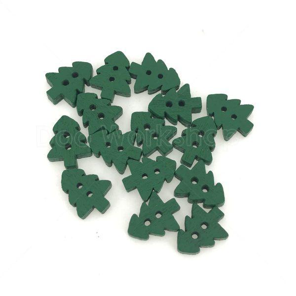 綠色聖誕樹木扭扣