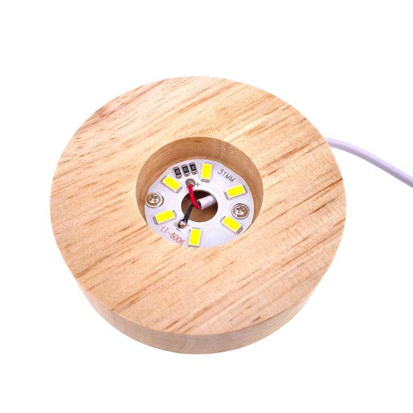 USB圓形實木發光底座