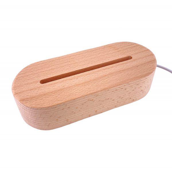 USB橢圓實木小夜燈底座