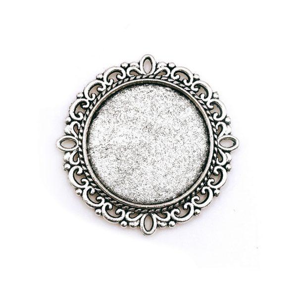 圓形花邊復古銀底托