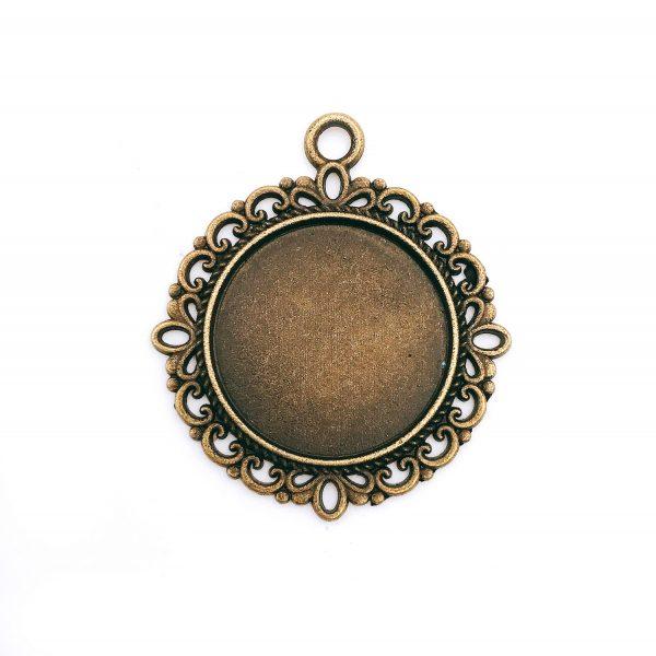 圓形花邊復古銅底托-3