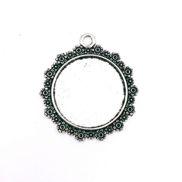 圓形花邊復古銀底托-3