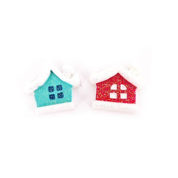 聖誕閃粉小屋樹脂裝飾