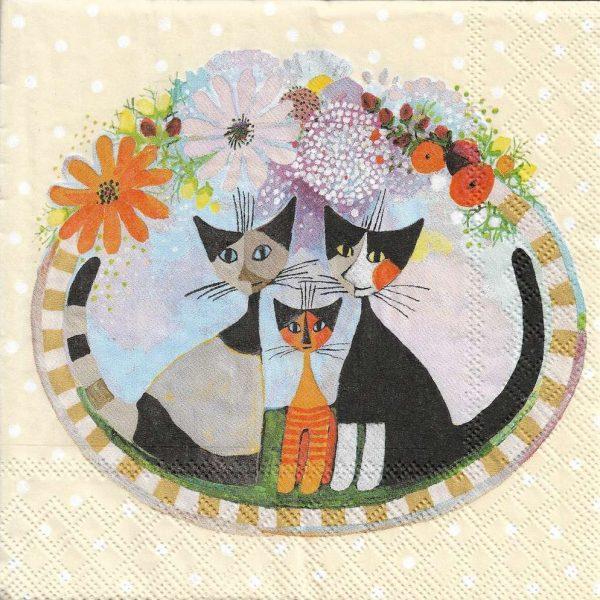 Decoupage蝶古巴特紙巾-3隻小貓