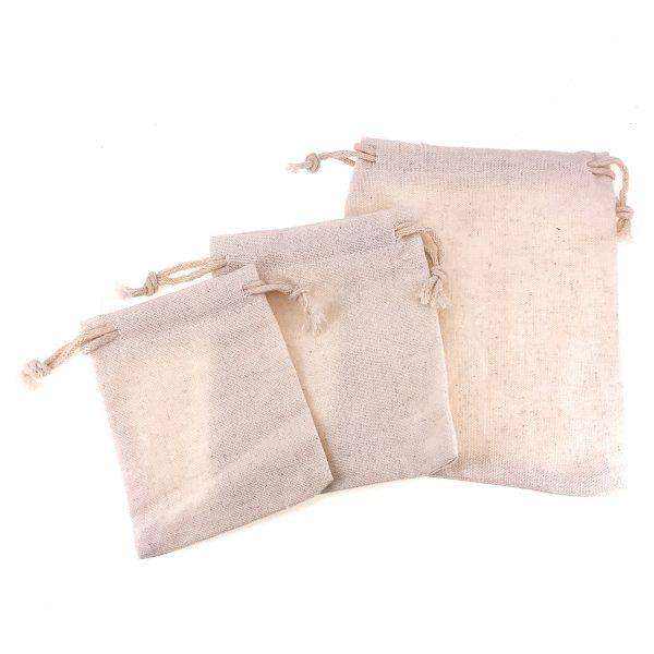 白色棉帆布索繩束口袋
