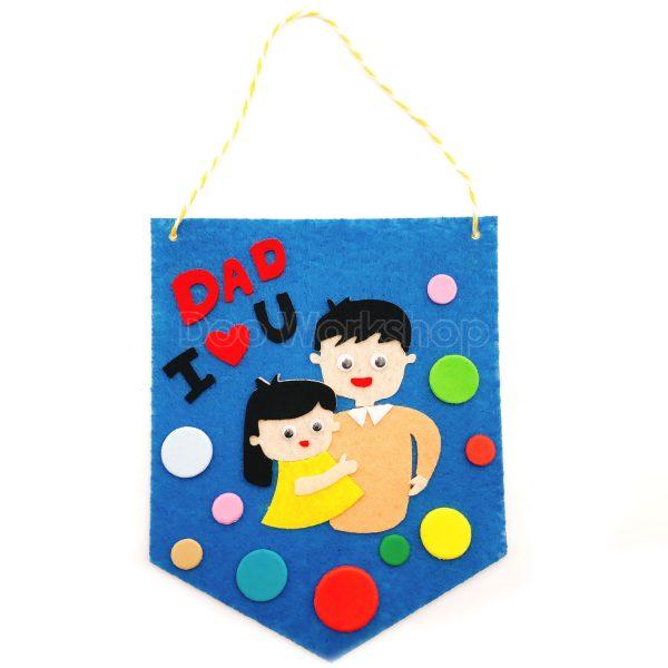 父親節不織布小錦旗DIY材料包-藍色