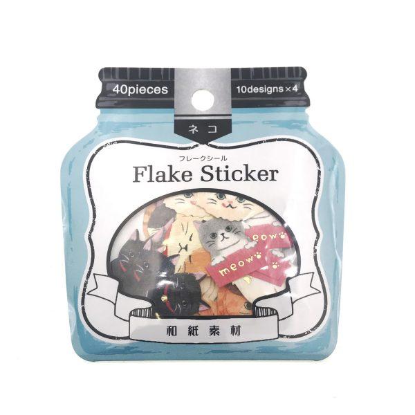 Flake Sticker和紙素材貓貼紙