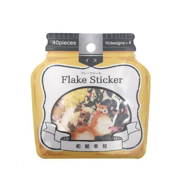 Flake Sticker和紙素材狗貼紙
