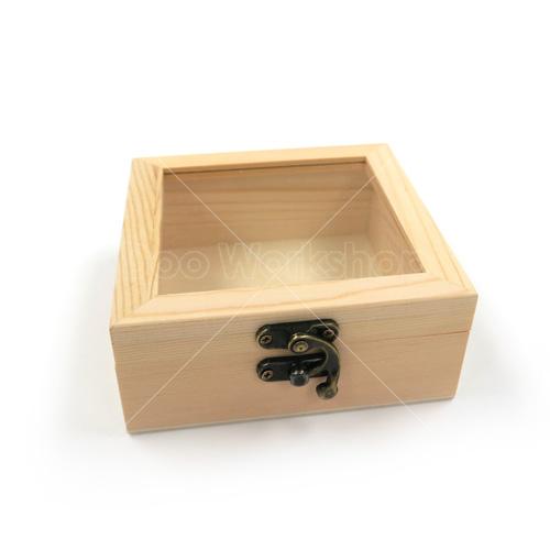 正方形玻璃木盒12X12X5CM