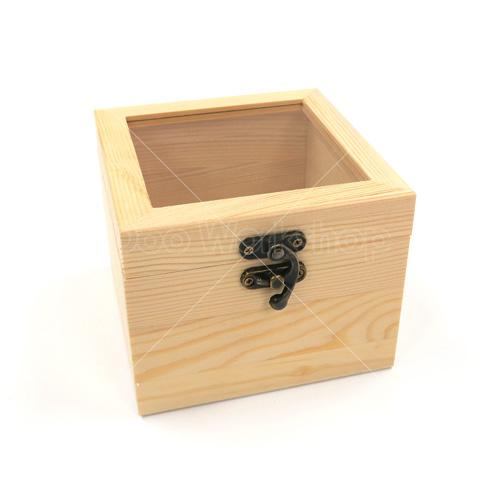 正方形玻璃木盒12X12X9.5CM