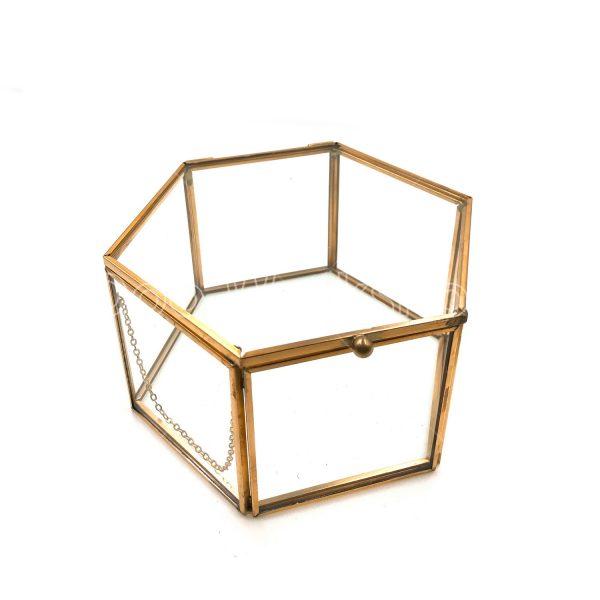 六邊形玻璃首飾盒中號