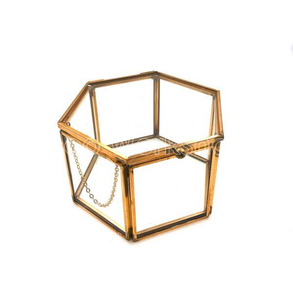 六邊形玻璃首飾盒小號