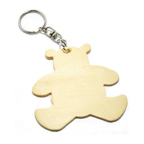小熊木片匙扣