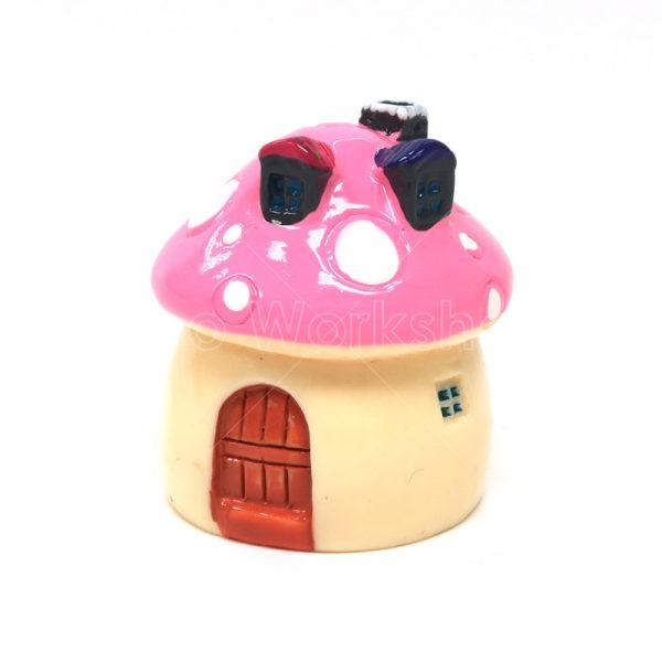 粉紅蘑菇小屋樹脂擺件