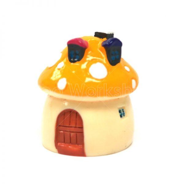 黃色蘑菇小屋樹脂擺件